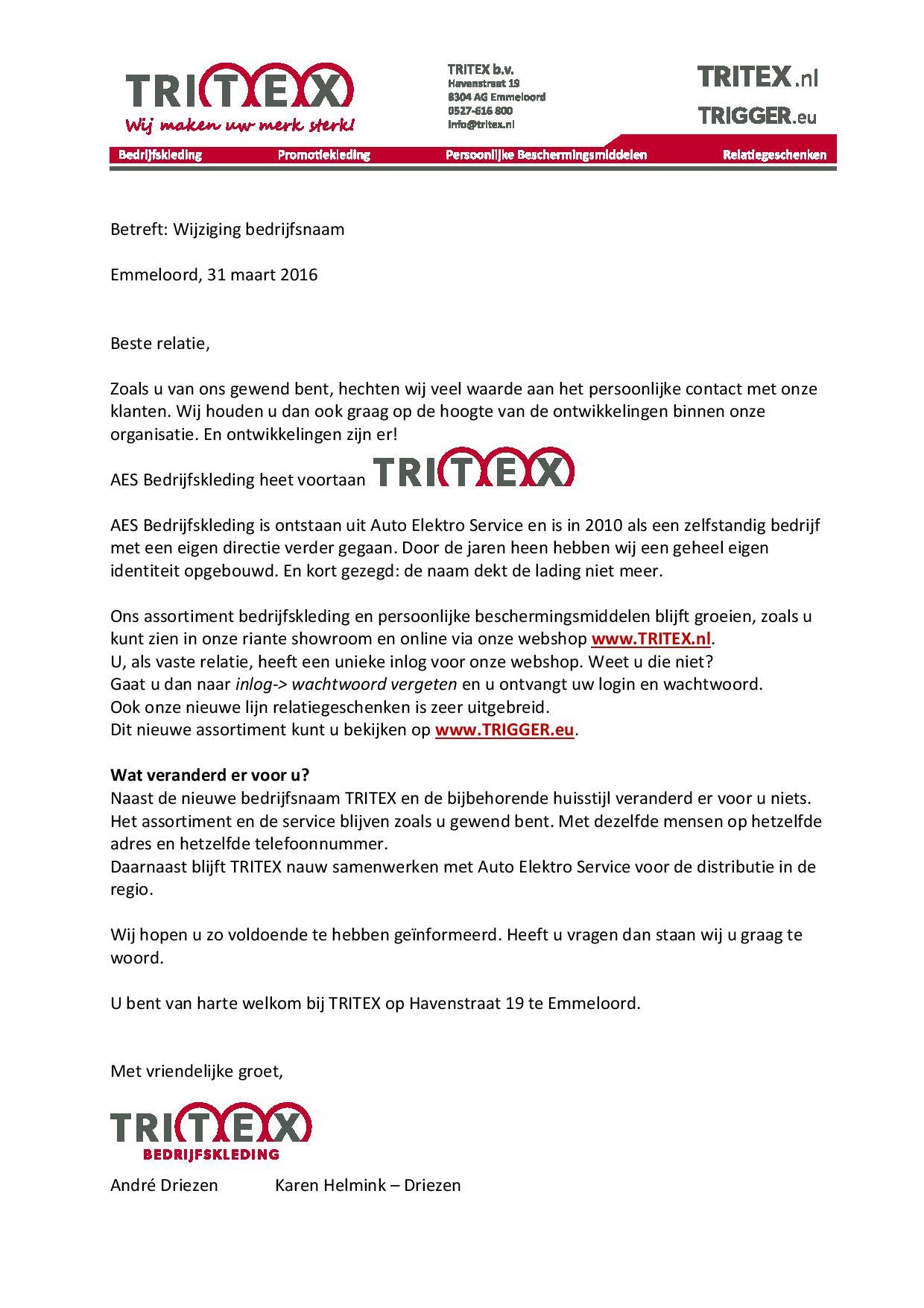 voorbeeldbrief naamswijziging Aes Bedrijfskleding wordt Tritex   Business Club Flevoboys voorbeeldbrief naamswijziging